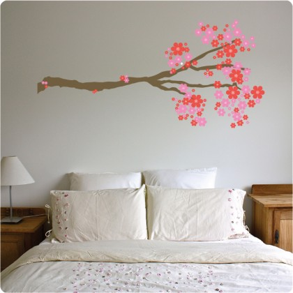 une branche d 39 arbre fleurie stickers d coratifs. Black Bedroom Furniture Sets. Home Design Ideas